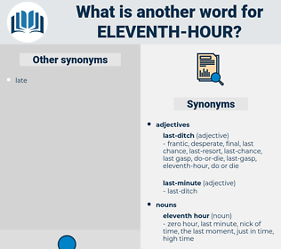 eleventh-hour, synonym eleventh-hour, another word for eleventh-hour, words like eleventh-hour, thesaurus eleventh-hour