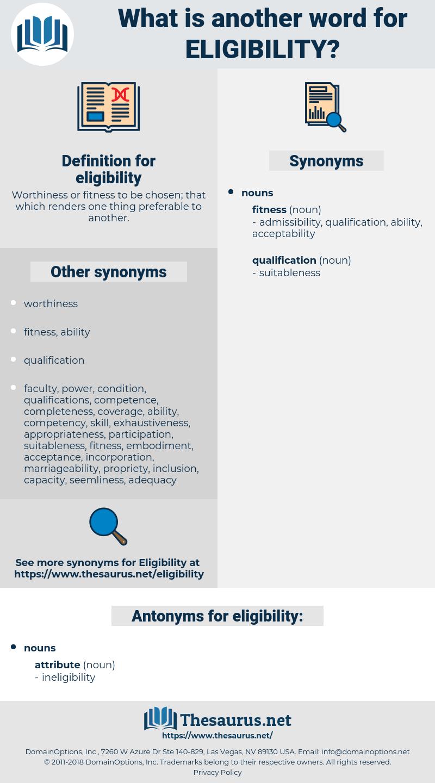 eligibility, synonym eligibility, another word for eligibility, words like eligibility, thesaurus eligibility