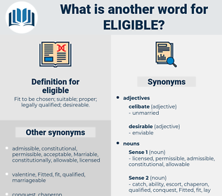 eligible, synonym eligible, another word for eligible, words like eligible, thesaurus eligible