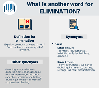 elimination, synonym elimination, another word for elimination, words like elimination, thesaurus elimination