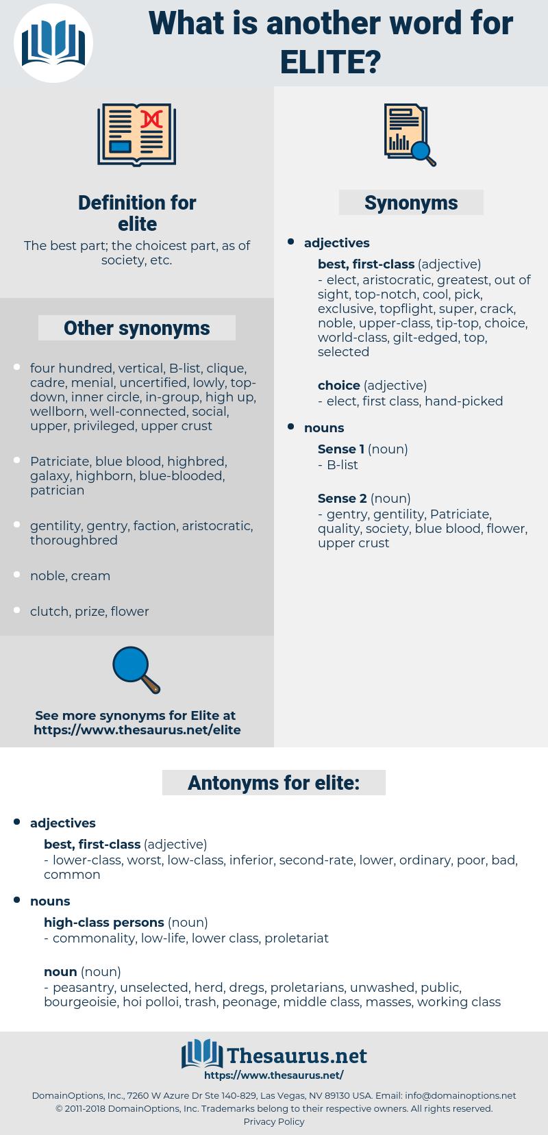 elite, synonym elite, another word for elite, words like elite, thesaurus elite