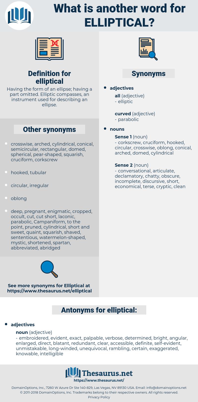elliptical, synonym elliptical, another word for elliptical, words like elliptical, thesaurus elliptical