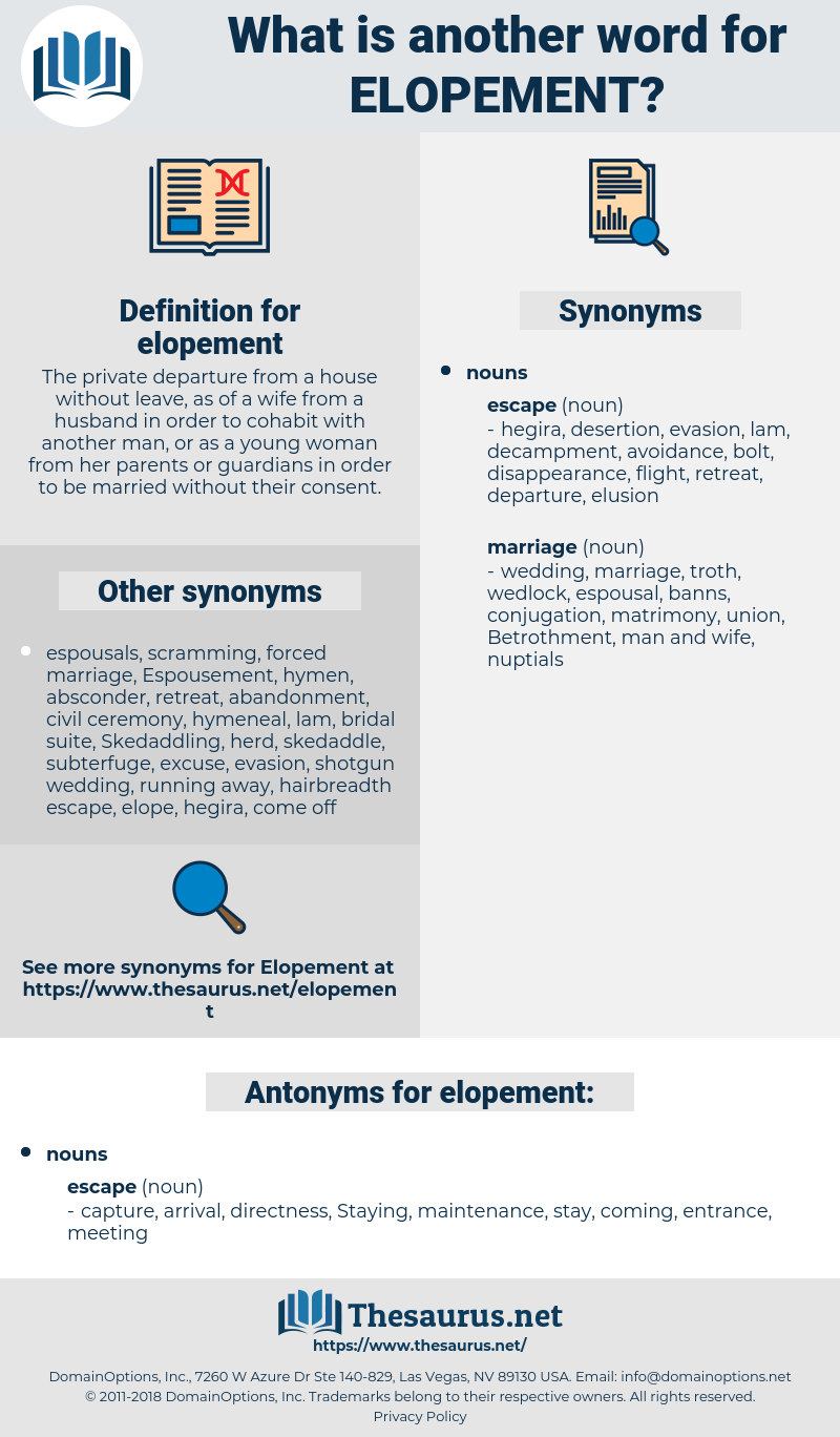 Synonyms for ELOPEMENT, Antonyms for ELOPEMENT - Thesaurus net