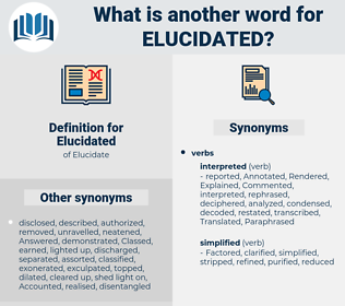 Elucidated, synonym Elucidated, another word for Elucidated, words like Elucidated, thesaurus Elucidated