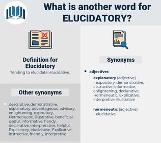 Elucidatory, synonym Elucidatory, another word for Elucidatory, words like Elucidatory, thesaurus Elucidatory