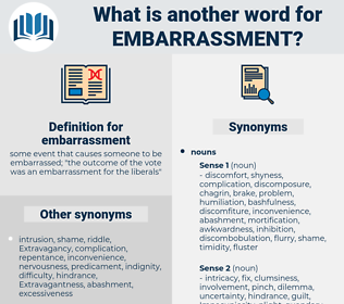 embarrassment, synonym embarrassment, another word for embarrassment, words like embarrassment, thesaurus embarrassment