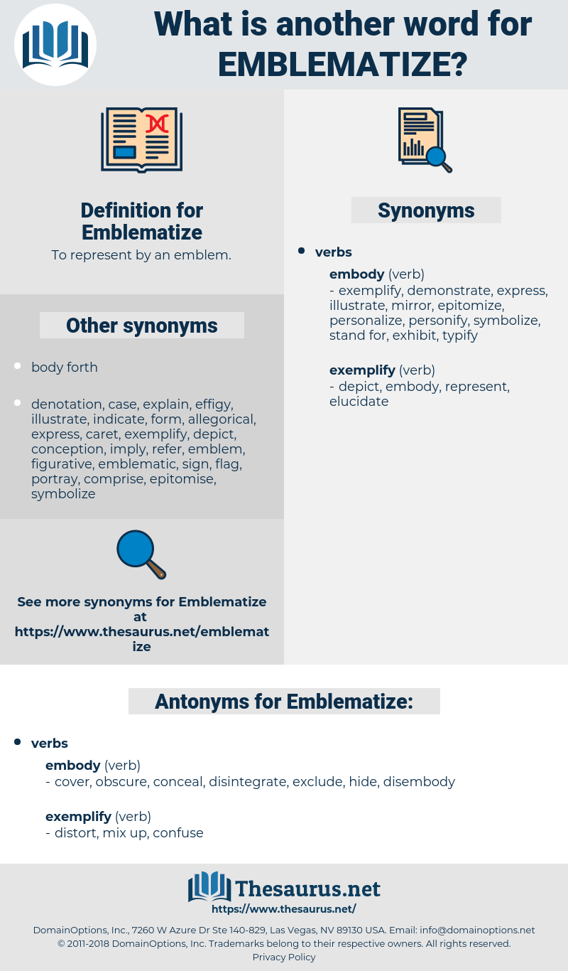 Emblematize, synonym Emblematize, another word for Emblematize, words like Emblematize, thesaurus Emblematize