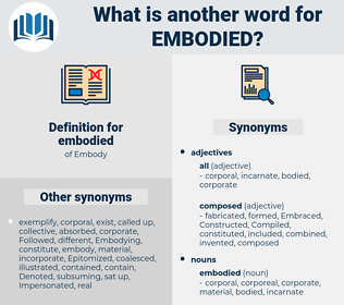 embodied, synonym embodied, another word for embodied, words like embodied, thesaurus embodied