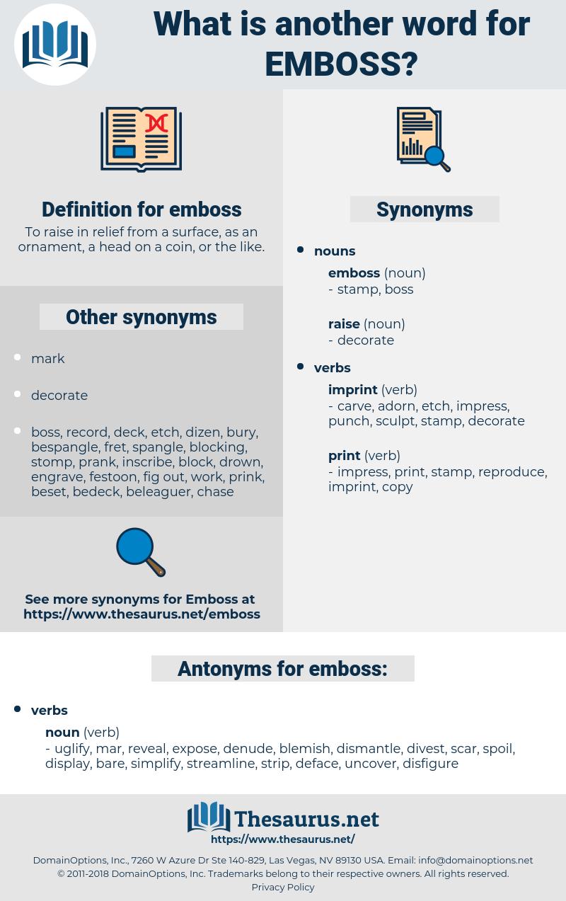 emboss, synonym emboss, another word for emboss, words like emboss, thesaurus emboss