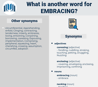 embracing, synonym embracing, another word for embracing, words like embracing, thesaurus embracing