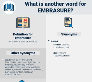 embrasure, synonym embrasure, another word for embrasure, words like embrasure, thesaurus embrasure
