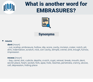 embrasures, synonym embrasures, another word for embrasures, words like embrasures, thesaurus embrasures