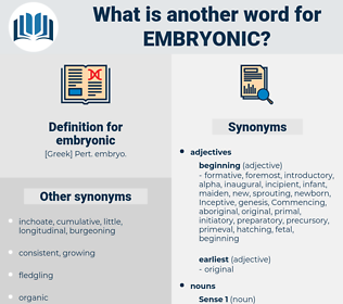 embryonic, synonym embryonic, another word for embryonic, words like embryonic, thesaurus embryonic