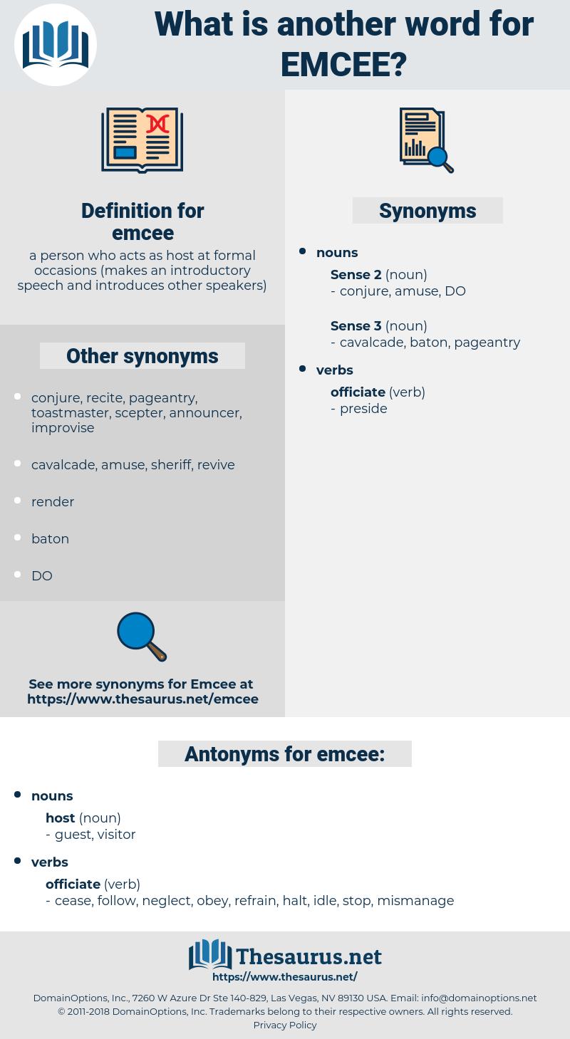 emcee, synonym emcee, another word for emcee, words like emcee, thesaurus emcee