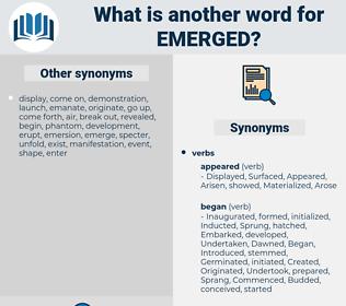 Emerged, synonym Emerged, another word for Emerged, words like Emerged, thesaurus Emerged