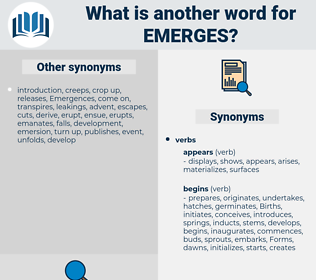 emerges, synonym emerges, another word for emerges, words like emerges, thesaurus emerges