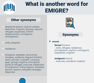 emigre, synonym emigre, another word for emigre, words like emigre, thesaurus emigre