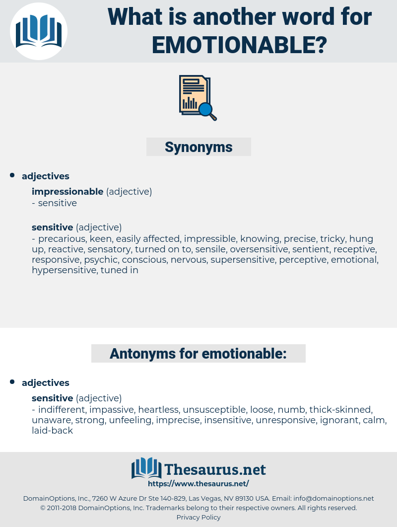 emotionable, synonym emotionable, another word for emotionable, words like emotionable, thesaurus emotionable