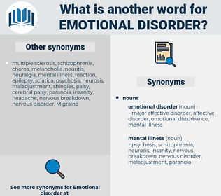 emotional disorder, synonym emotional disorder, another word for emotional disorder, words like emotional disorder, thesaurus emotional disorder