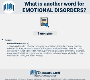 emotional disorders, synonym emotional disorders, another word for emotional disorders, words like emotional disorders, thesaurus emotional disorders