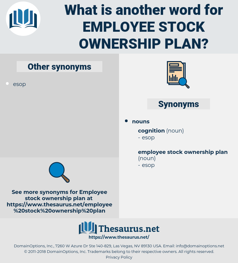 employee stock ownership plan, synonym employee stock ownership plan, another word for employee stock ownership plan, words like employee stock ownership plan, thesaurus employee stock ownership plan