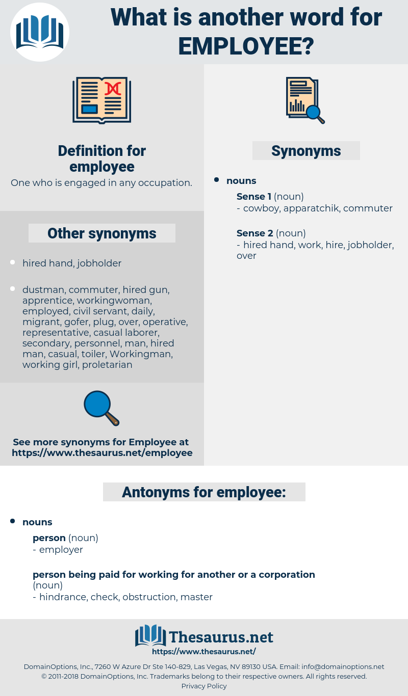 employee, synonym employee, another word for employee, words like employee, thesaurus employee