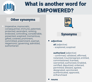 empowered, synonym empowered, another word for empowered, words like empowered, thesaurus empowered