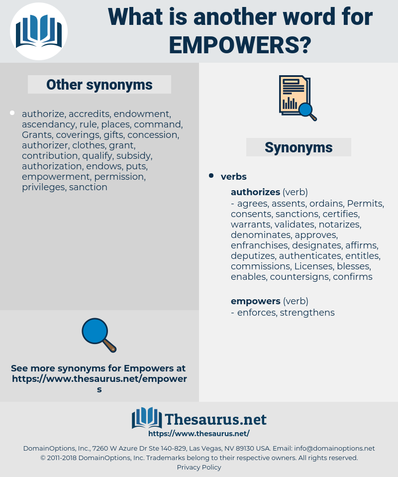 empowers, synonym empowers, another word for empowers, words like empowers, thesaurus empowers