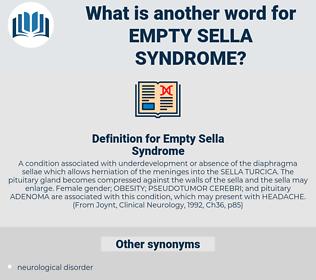 Empty Sella Syndrome, synonym Empty Sella Syndrome, another word for Empty Sella Syndrome, words like Empty Sella Syndrome, thesaurus Empty Sella Syndrome