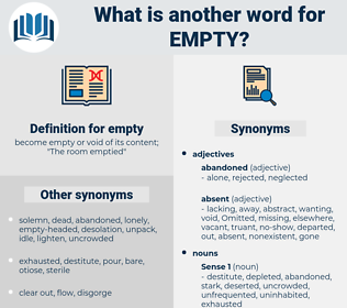 empty, synonym empty, another word for empty, words like empty, thesaurus empty
