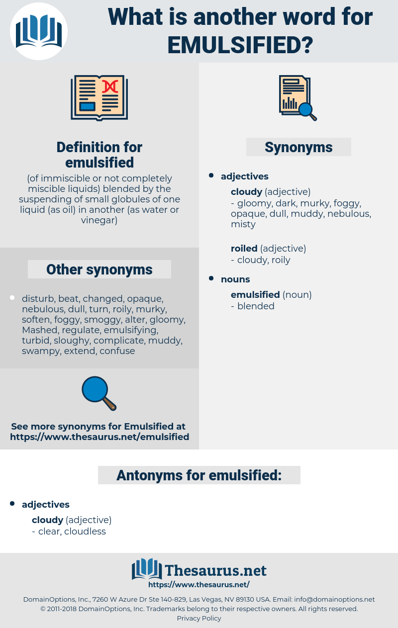 emulsified, synonym emulsified, another word for emulsified, words like emulsified, thesaurus emulsified