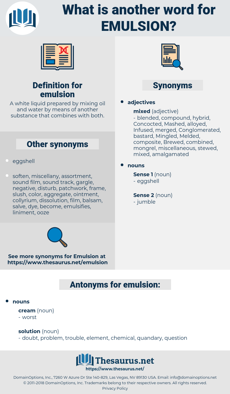 emulsion, synonym emulsion, another word for emulsion, words like emulsion, thesaurus emulsion