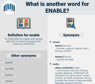 enable, synonym enable, another word for enable, words like enable, thesaurus enable