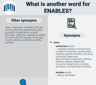 enables, synonym enables, another word for enables, words like enables, thesaurus enables