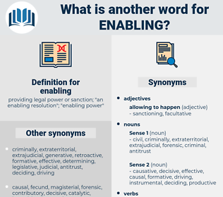 enabling, synonym enabling, another word for enabling, words like enabling, thesaurus enabling
