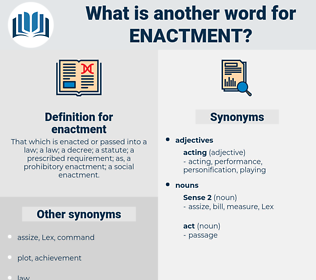 enactment, synonym enactment, another word for enactment, words like enactment, thesaurus enactment