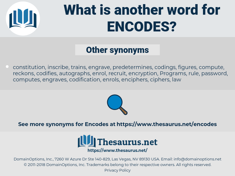 encodes, synonym encodes, another word for encodes, words like encodes, thesaurus encodes