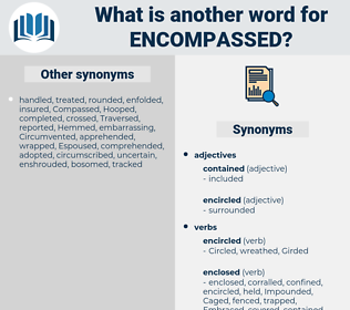 Encompassed, synonym Encompassed, another word for Encompassed, words like Encompassed, thesaurus Encompassed