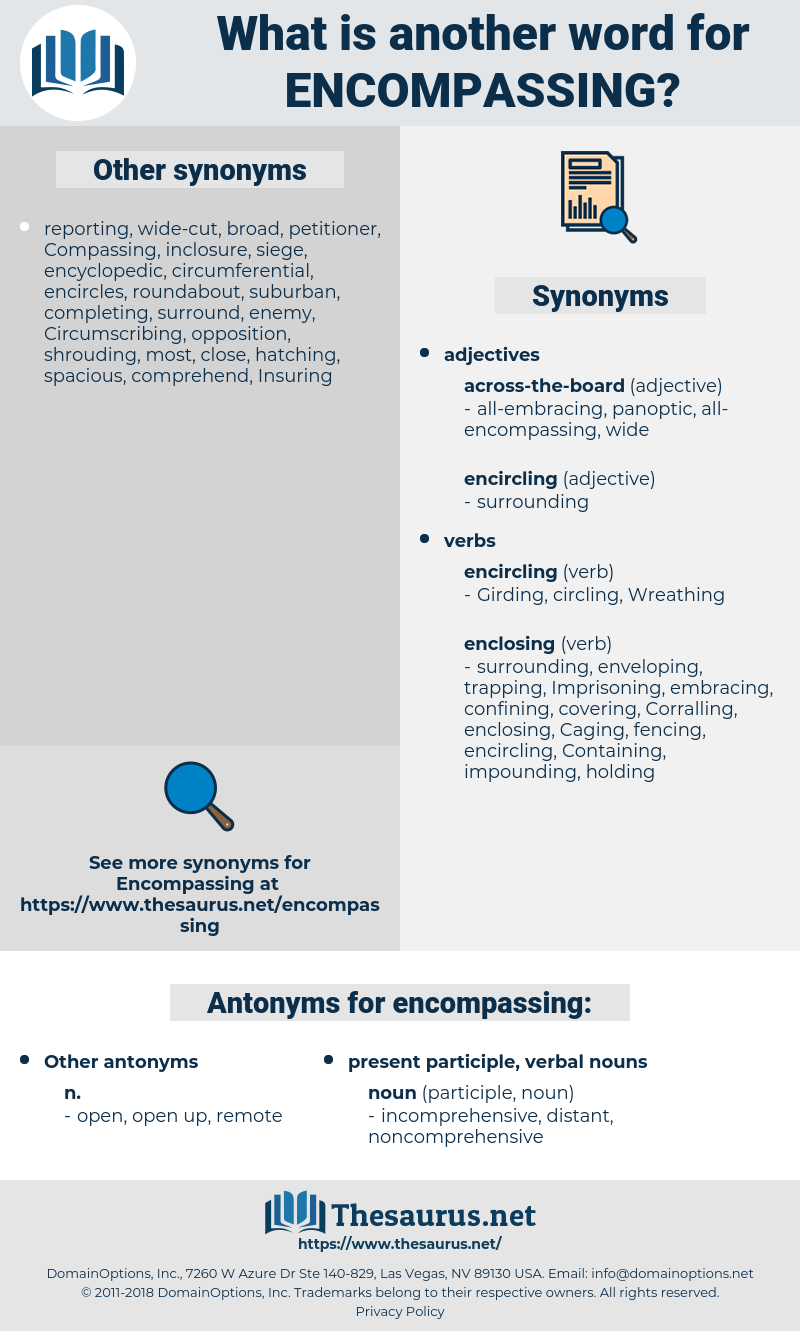 encompassing, synonym encompassing, another word for encompassing, words like encompassing, thesaurus encompassing