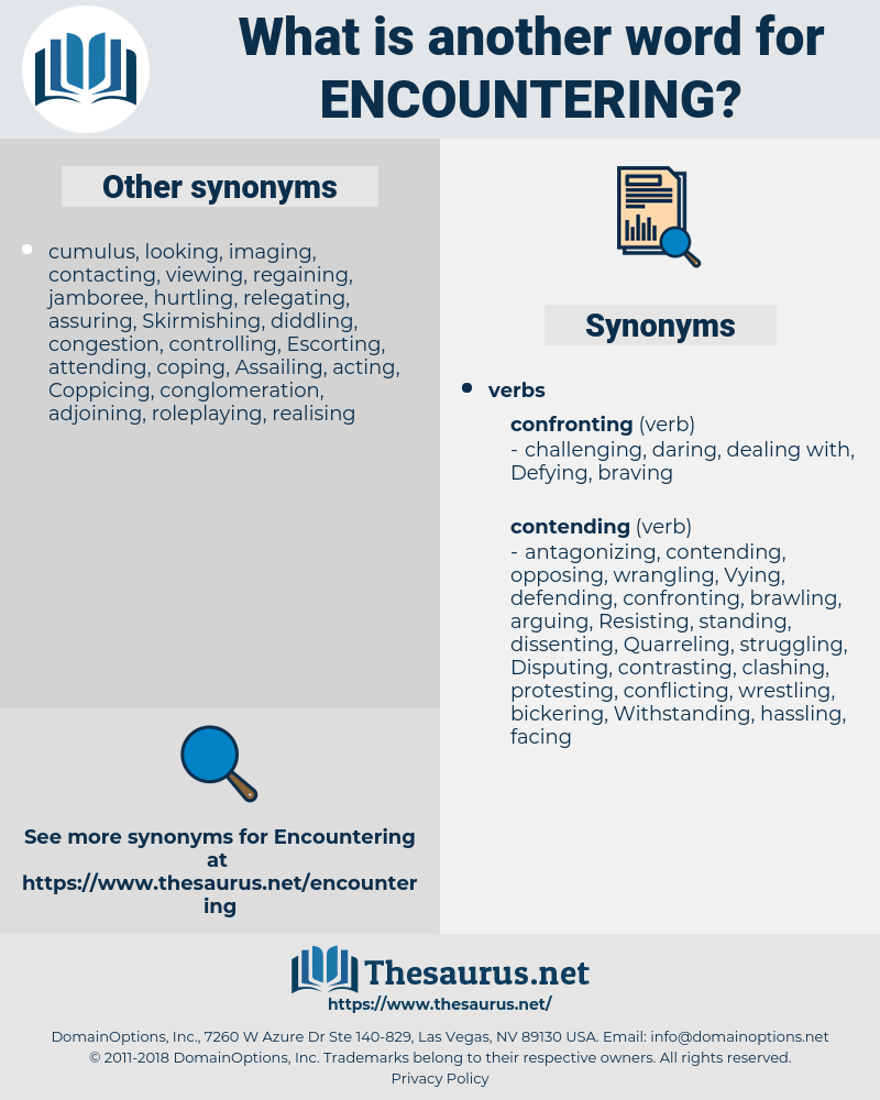 Encountering, synonym Encountering, another word for Encountering, words like Encountering, thesaurus Encountering