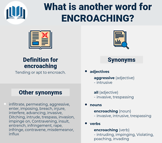 encroaching, synonym encroaching, another word for encroaching, words like encroaching, thesaurus encroaching