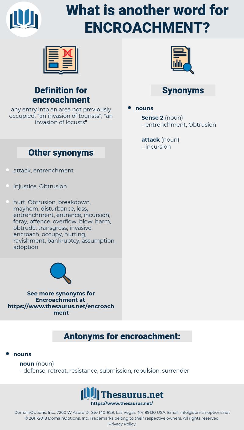 encroachment, synonym encroachment, another word for encroachment, words like encroachment, thesaurus encroachment