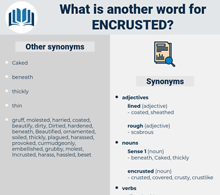 encrusted, synonym encrusted, another word for encrusted, words like encrusted, thesaurus encrusted