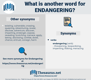 Endangering, synonym Endangering, another word for Endangering, words like Endangering, thesaurus Endangering