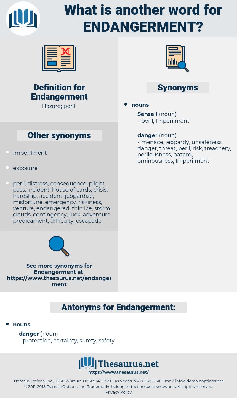 Endangerment, synonym Endangerment, another word for Endangerment, words like Endangerment, thesaurus Endangerment