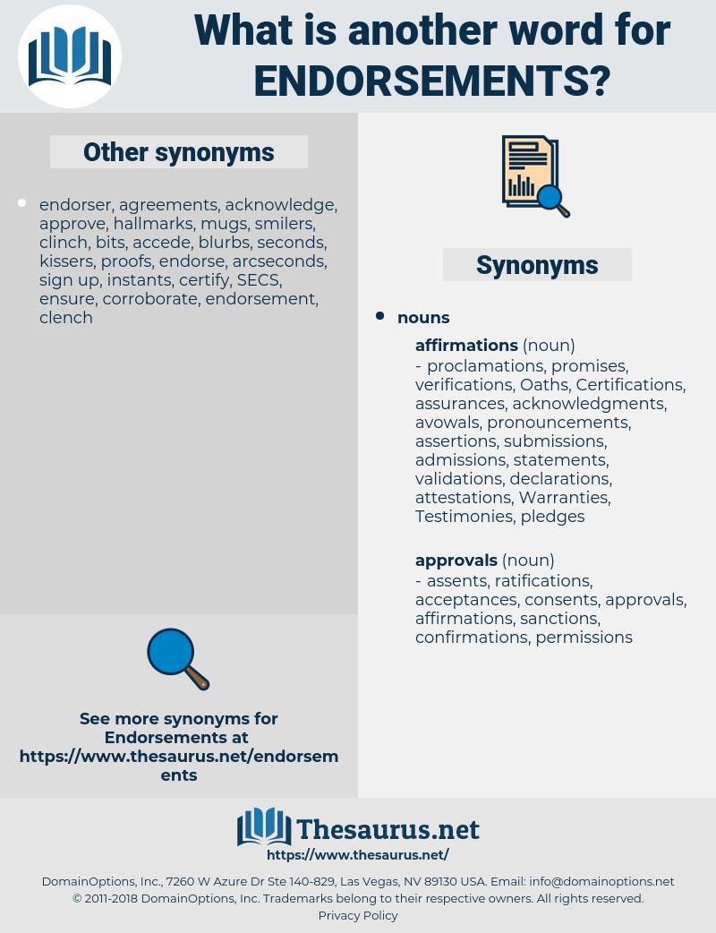 endorsements, synonym endorsements, another word for endorsements, words like endorsements, thesaurus endorsements