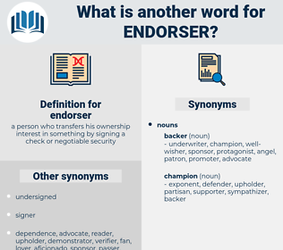 endorser, synonym endorser, another word for endorser, words like endorser, thesaurus endorser