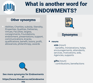 Endowments, synonym Endowments, another word for Endowments, words like Endowments, thesaurus Endowments