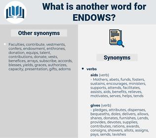 endows, synonym endows, another word for endows, words like endows, thesaurus endows