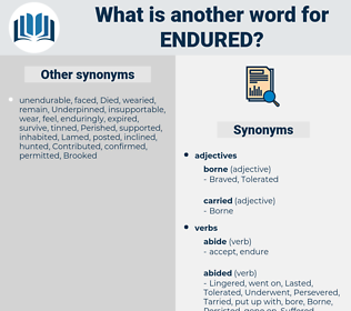 Endured, synonym Endured, another word for Endured, words like Endured, thesaurus Endured